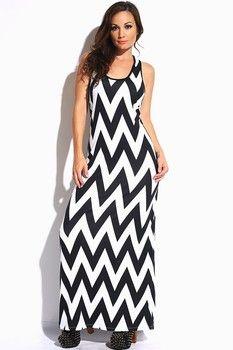 Black & White Chevron Maxi Dress Free Shipping