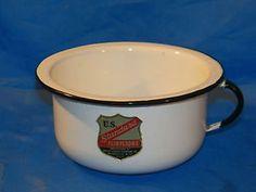 Antique Vintage White Enamelware US Standard Flintstone Chamber Pot Bowl Dish | eBay