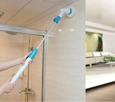 Cleaning Brush Electric Spin Scrubber Cordless Chargeable Bathroom Cleaner with Extension Handle Adaptive Brush Tub Tile Tools Placesure Online Mall House Cleaning Tips, Cleaning Hacks, Floor Cleaning, Spring Cleaning, Bathtub Tile, Hard Water Stains, Electric Power, Bathroom Cleaning, Kitchen Cleaning