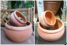 These easy and inexpensive DIY Terracotta Clay Pot fountain projects will be onto your must to do garden design list to bring life Home. Diy Water Fountain, Diy Garden Fountains, Small Fountains, Fountain Ideas, Water Fountains, Fountain House, Fountain Lights, Ponds Backyard, Backyard Landscaping