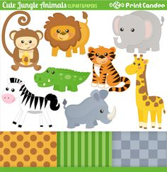 Free Printable Jungle Animals   Jungle Animals - Use for food labels!!!