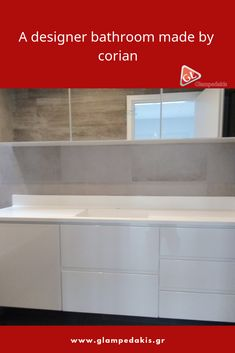 A bathroom's wall bench at a #Greek house, made by: #Corian and #Lacquered plywood And of course it has a #mirror!