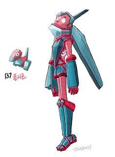#137. Porygon (humanized/gijinka pokemon series by tamtamdi on tumblr)