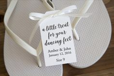 197b20086 A little treat for your dancing feet - Flip Flop Tags - Slipper tags -  Wedding