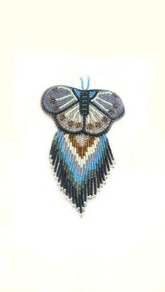 Beaded Barrette Sead Bead Embroidery Beadwork Blue by shewolfbijou, $50.00