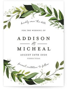 Vines Of Green Save The Date Petite Cards