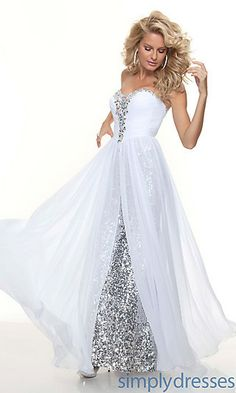 Long, white, sparkly dress (not white because the wedding thing lol)