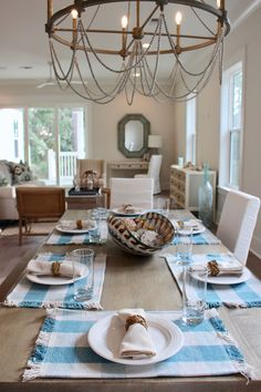 blue white dining room, lovelace interiors, lindsaycannoninteriordesign.com, coastal dining table setting, 30a interior design Room, Interior, Coastal Dining Room, Table Settings, Dining, Remodel, White Dining Room, Dining Table, Interior Design