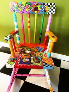 42 Outstanding Diy Painted Chair Designs Ideas To Try Hand Painted Chairs, Whimsical Painted Furniture, Hand Painted Furniture, Paint Furniture, Painted Rocking Chairs, Distressed Furniture, Furniture Design, Diy Furniture Chair, Funky Furniture