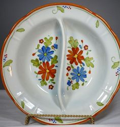 Vintage Hand Painted Divided  Porcelain Floral  Daisy Bowl