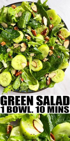MIXED GREEN SALAD RECIPE- Quick and easy salad with lemon vinaigrette, homemade with simple ingredients in one pot in 10 minutes. Full of lettuce, spinach, cucumbers, almonds and pecans. From OnePotRecipes.com