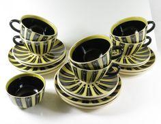Hedwig Bollhagen 6 Tassen- Untertassen - Teller und eine Zuckerdose gelb schwarz
