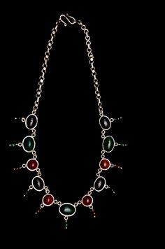 Beautiful Silver Indian Style Necklace Handmade  with semi precious stone .  Can be shipped any where ask for price .