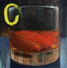 """Sketchy Little Sazerac"" by Grant Schexnider || 18x18"" Oil on Canvas @ Gallery Orange - New Orleans"