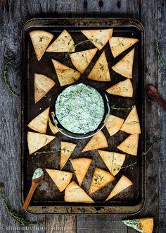 Yogurt Pesto Dip with Homemade Thyme Pita Chips-12