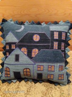 Denim House Cushion • made with old jeans and scraps of gold fabric for the little windows.