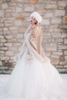 Wedding Dress: Allure Bridal - www. Photography: JFHannigan Photography - www. Wedding Dress Trends, Black Wedding Dresses, Wedding Ideas, Wedding Games, Wedding Coat, Wedding Bride, Gold Wedding, Russian Winter, Russian Wedding