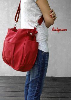 IRIS in Dark Red : Canvas Bag by Luckycann $46