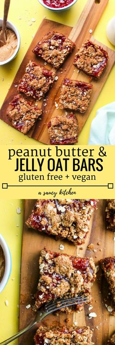 Gluten Free + Vegan Peanut Butter & Jelly Bars | Only 8 ingredients and 35 minutes to needed