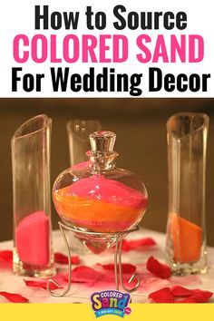 Colored sand makes great inexpensive centerpieces for weddings and receptions. Here's how you can find and use colored sand for wedding decor!