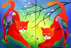 Tomcatten - Schilderij,  60x40 cm ©2010 door Tetiana Gorbachenko -                            Expressionisme, paintings