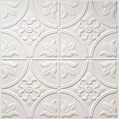 Dimensions (Common: x Actual: x White Metal/Tin Surface-Mount Tile Ceiling Tiles at Lowe's. Dimensions thermoformed panels replicate the look of tin tiles. Our 2 ft. x 4 ft. faux tin panels are available in this solid colored styrene which you Acoustic Ceiling Tiles, Faux Tin Ceiling Tiles, Tin Tiles, Ceiling Tiles Painted, Wall Tiles, Ceiling Grid, Ceiling Panels, Mold In Bathroom, Seaside Bathroom