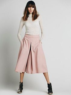 pale pink culottes