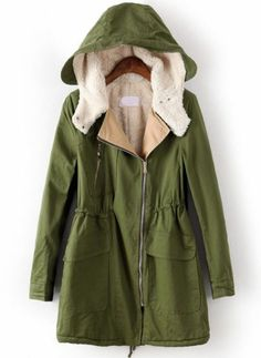 Army Green Plain Drawstring Cotton Blend Padded Coat | Closet