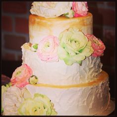 Gold with Texture wedding cake by Carter's Creative catering Www.carterscreativecatering. Com