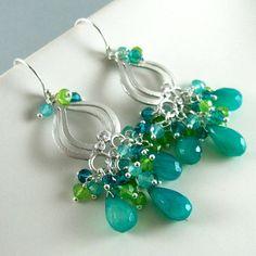 Peacock Green Chalcedony Drop Chandelier Earrings by SurfAndSand, $89.00