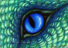 Items similar to Dragon ACEO, Dragon Fantasy Art, Water Dragon Eye, Illustration, Print on Etsy Colored Pencil Artwork, Colored Pencils, Fantasy Dragon, Fantasy Art, Dragon Eye Drawing, Eye Illustration, Water Dragon, Blue Dragon, Animal Art Projects