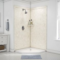 Surround yourself with the luxurious look of natural stone with FlexStone, the revolutionary tub and shower wall material that is easy to cut and install and easier still to clean and enjoy. The Splendor Corner Shower Kit will fit openings up to 40 in. W x 40 in. D x 80 in. H and includes two 40 in. x 80 in. wall panels, two 3 in. x 88 in. mitered side trim, two 3 in. x 42 in. mitered top trim, one corner shelf and inside corner reinforcements. The kit also includes specially-formulated adhesive