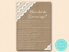 Burlap What did the Groom Say What did he say by MagicalPrintable
