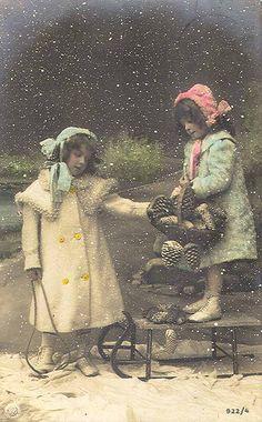 Vintage Postcard ~ Girls in Snow@@@@.....@@@@@.....http://www.pinterest.com/pin/396879785884107906/
