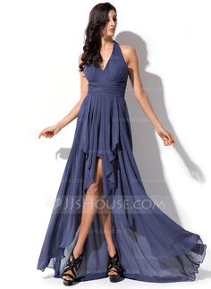 A-Line/Princess Halter Asymmetrical Chiffon Prom Dress With Bow(s) Cascading Ruffles (018052695) - JJsHouse