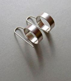 Three Dimensional Silver Circle Drop Earrings