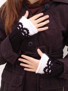 Fingerless mittens Knit Arm Wrist Warmers Crochet  by Lasunka, €24.00