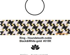 peyote ring pattern,PDF-Download, Ring #315R, 2 variants, houndstooth, peyote, beading pattern, beading tutorials, ring pattern