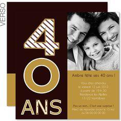 carte invitation anniversaire 40 ans femme
