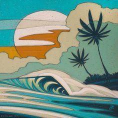 Art Portfolio: Browse through over 600 works of art by Oregon artist Erik Abel. Ocean Art, Animal Art, Tiki faces, Works on paper, Surf Art and digital illustrations. Aesthetic Painting, Aesthetic Art, Aesthetic Women, Aesthetic Pictures, Aesthetic Clothes, Surf Kunst, Kunst Portfolio, Arte Peculiar, Retro Surf