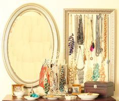 5 genius ways to organize jewelry like necklaces and earrings doesn't require custom-built cabinets, including how to use household items you already have!