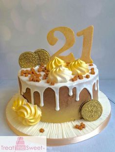 Chocolate and gold drip cake by Treat me Sweet
