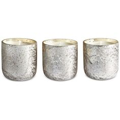Illume Luxe Mini Sanded Mercury-Glass Candle Set ($32) ❤ liked on Polyvore featuring home, home decor, candles & candleholders, fillers, candles, decoration, balsam and cedar, mercury glass home decor, mini candles and vintage home decor