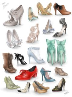 Shoes Illustrations by me, see it mon FB page Maërie Illustrations