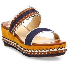 Christian Louboutin Montezuplage 60 Spiked Mixed Media Wedge Slides... ($895) ❤ liked on Polyvore featuring shoes, sandals, apparel & accessories, open toe wedge sandals, wedge heel sandals, slip-on shoes, slip on sandals and christian louboutin