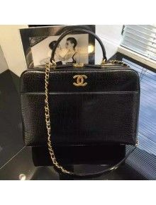 Chanel Black Large Lambskin Bowling Bag Embellished With A Chanel Metallic Plate Pre Fall-Winter 2015/16