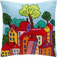Yastık etamin Cross Stitch House, Cross Stitch Kits, Cross Stitch Designs, Cross Stitch Patterns, Loom Patterns, Hardanger Embroidery, Cross Stitch Embroidery, Cross Stitch Cushion, Crochet Cushion Cover