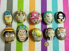 New Hand Painted Creative Folk Art Stone ONE PIECE Luffy Sanji Brook For Gifts Collection
