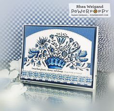 Flowers, Always Digital Stamp Set | Power Poppy by Marcella Hawley, card design by Rhea Weigand.
