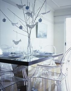 Glass Chairs futuristic and modern formal dining room set
